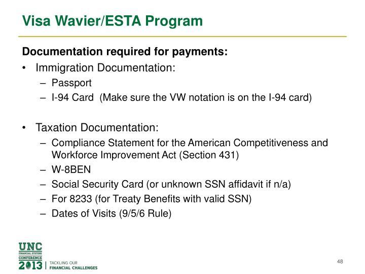 Visa Wavier/ESTA Program