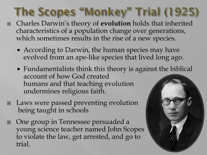 an analysis of scopes monkey trial Now, with a highly visible federal trial beginning on september 27, amid a national and international uproar prompted by president bush's own endorsement of id, the press is depicting dover as the 21st-century equivalent of dayton, tennessee, site of the famous 1925 scopes monkey trial.