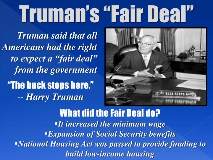 """Truman's """"Fair Deal"""""""
