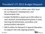 president s fy 2013 budget request