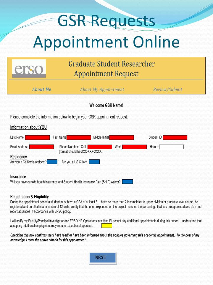 GSR Requests Appointment Online