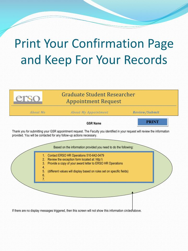 Print Your Confirmation Page and Keep For Your Records
