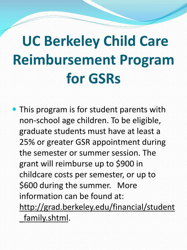 UC Berkeley Child Care Reimbursement Program for GSRs