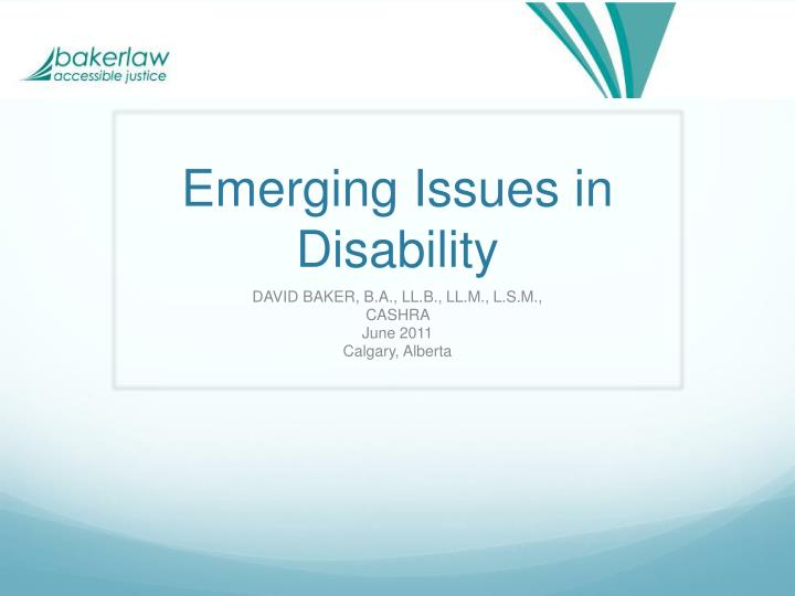 emerging issues in disability