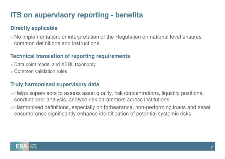 ITS on supervisory reporting - benefits