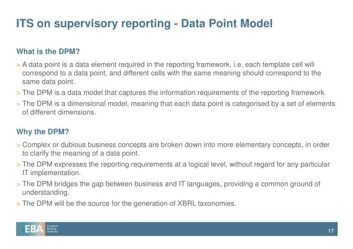 ITS on supervisory reporting - Data Point Model