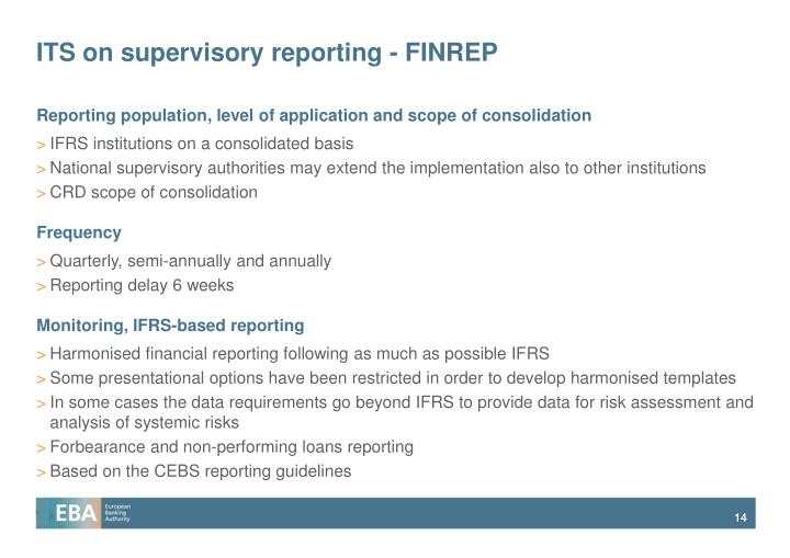 ITS on supervisory reporting - FINREP