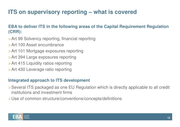 ITS on supervisory reporting – what is covered