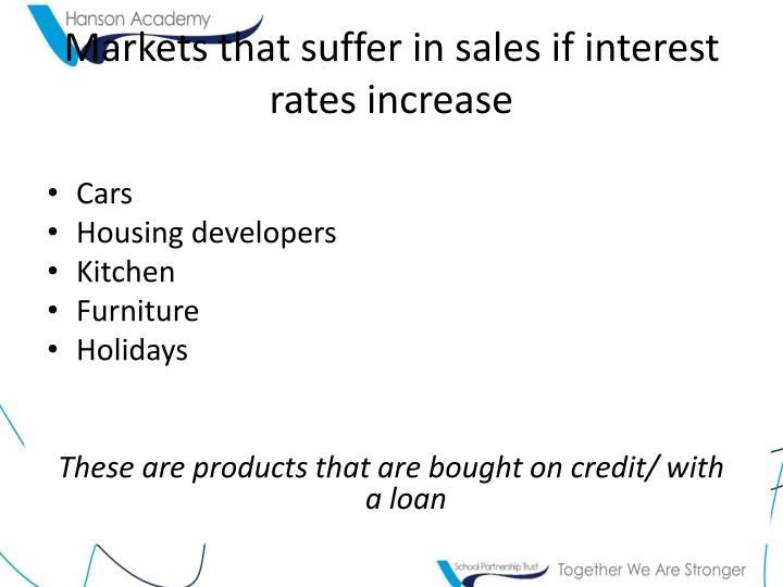 Markets that suffer in sales if interest rates increase