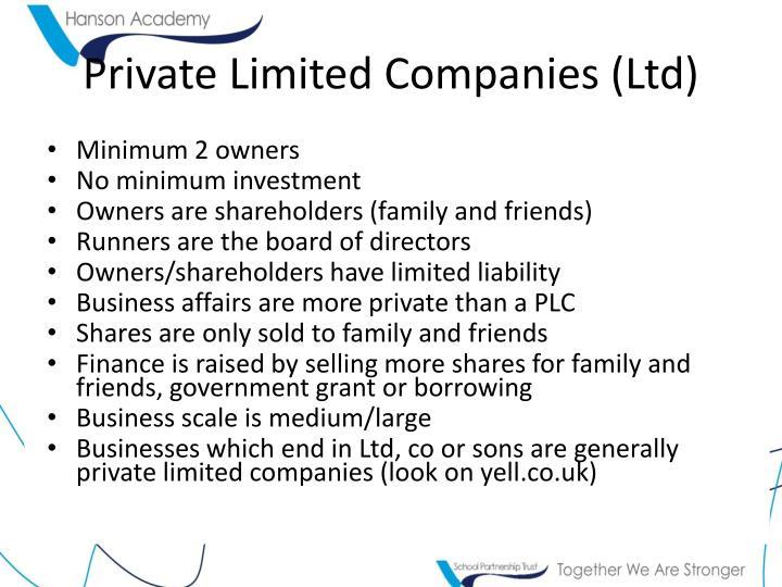 Private Limited Companies (Ltd)