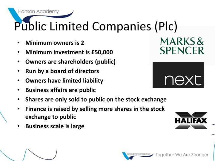 Public Limited Companies (Plc)