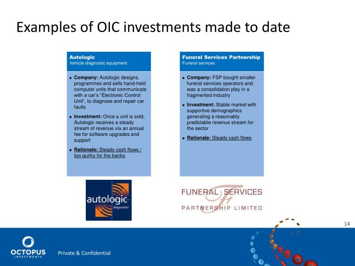 Examples of OIC investments made to date