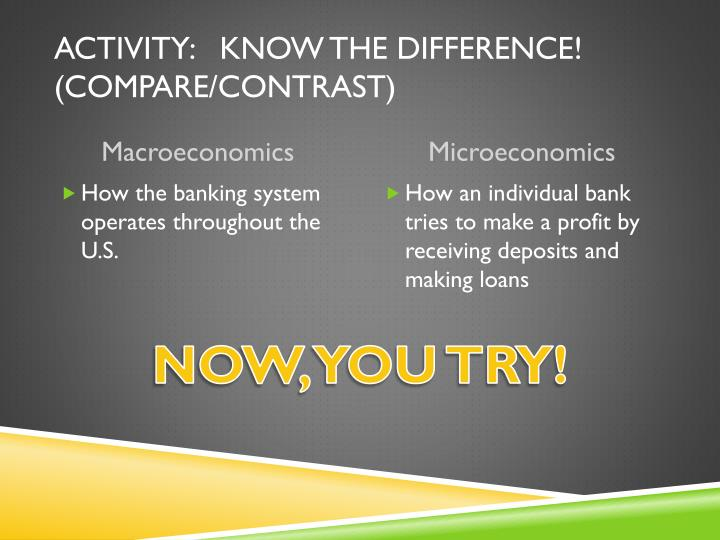 Activity:   KNOW THE DIFFERENCE! (COMPARE/CONTRAST)