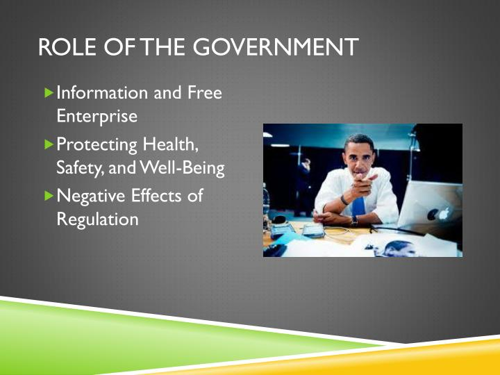 Role of the government