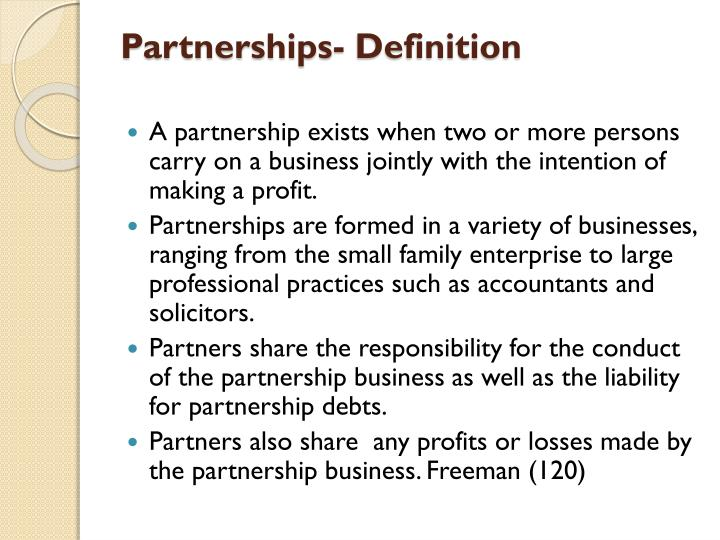 Partnerships- Definition