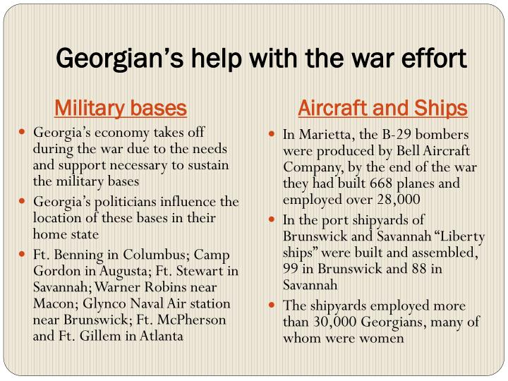 Ppt effects and influences of the great depression and world war georgians help with the war effort military bases publicscrutiny Gallery