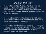 goals of this unit