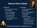 national bank debate