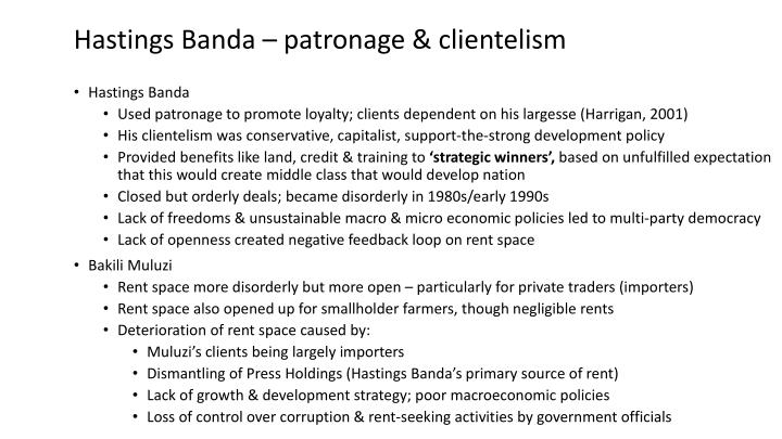 Hastings Banda – patronage &