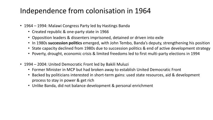 Independence from colonisation in 1964