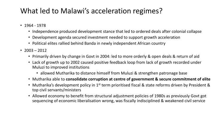 What led to Malawi's acceleration regimes?