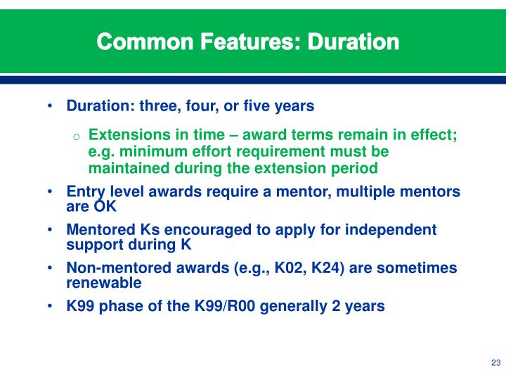 Common Features: Duration