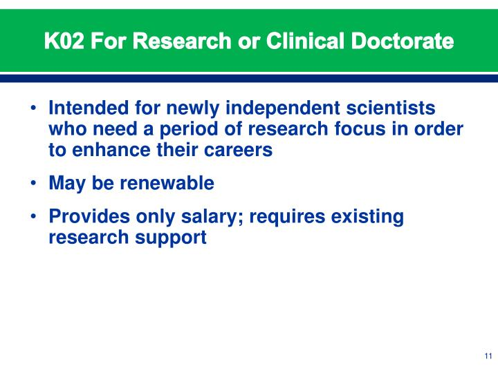 K02 For Research or Clinical Doctorate