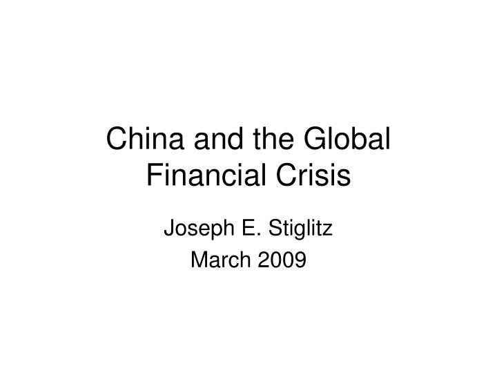 china and the global financial crisis n.