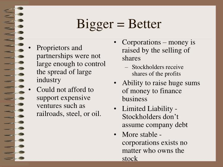 Proprietors and partnerships were not large enough to control the spread of large industry