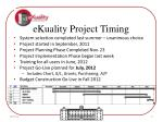 ekuality project timing