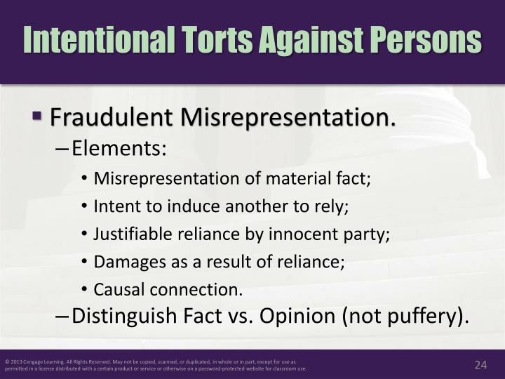 fraudulent misrepresentation A misrepresentation is a false statement of fact made by one party to another, which, whilst not being a term of the contract, induces the other party to enter the contract.