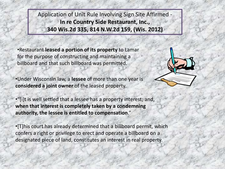Application of Unit Rule Involving Sign Site Affirmed -