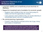 long term objectives of our wholesale market