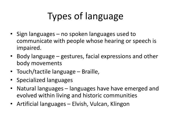 Types of language