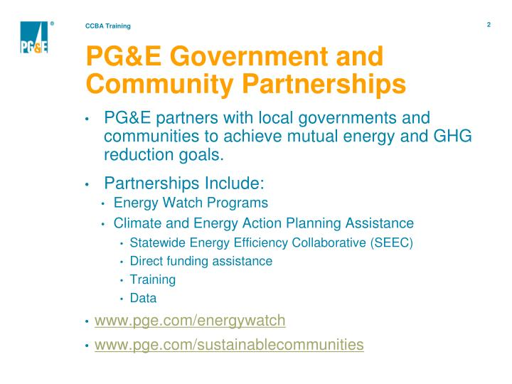 Pg e government and community partnerships