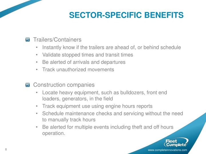 SECTOR-SPECIFIC BENEFITS