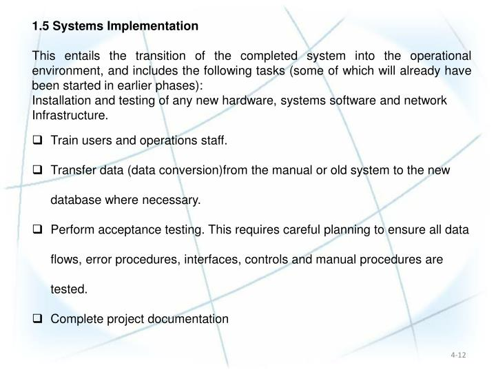 1.5 Systems Implementation