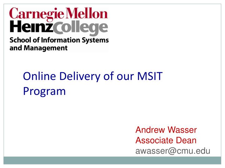 Online Delivery of our MSIT Program