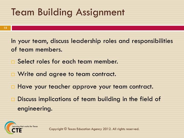 Team Building Assignment