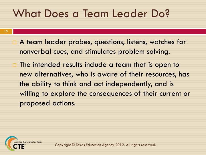 What Does a Team Leader Do?