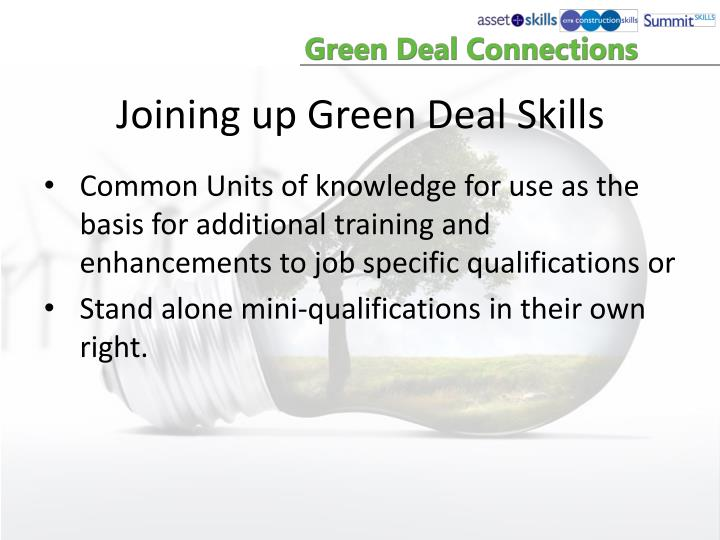 Joining up Green Deal Skills