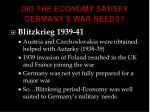 did the economy satisfy germany s war needs