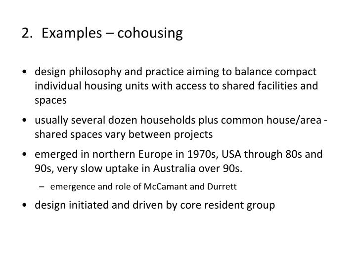 Examples – cohousing