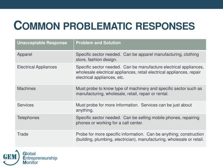 Common problematic responses