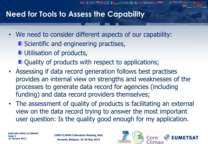 Need for Tools to Assess the Capability