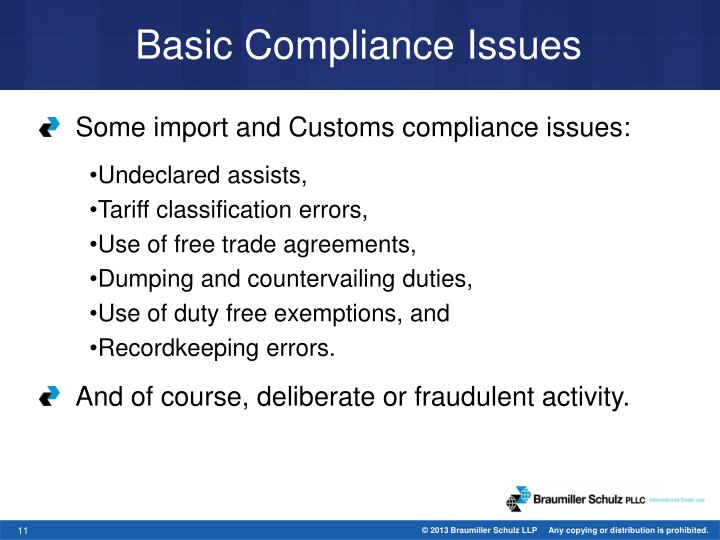 Basic Compliance Issues