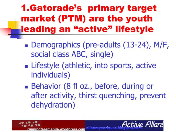 marketing plan on gatorade Marketing plan of gatorade, the gatorade mission statement, swot analysis, the objectives, the marketing strategy and the implementation evaluation control.