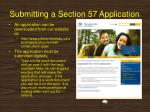 submitting a section 57 application