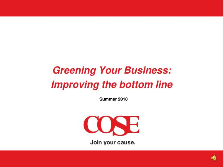 greening your business improving the bottom line