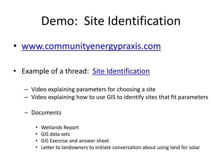 Demo:  Site Identification